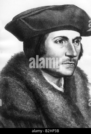 More, Thomas Sir, 7.2.1478 - 6.7.1535, English politician and humanist, portrait, engraving after painting, 16th - Stock Photo