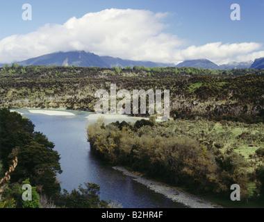 geography / travel, New Zealand, National Parks, Fjordland National Park, Eglinton River with landscape, landscapes, - Stock Photo