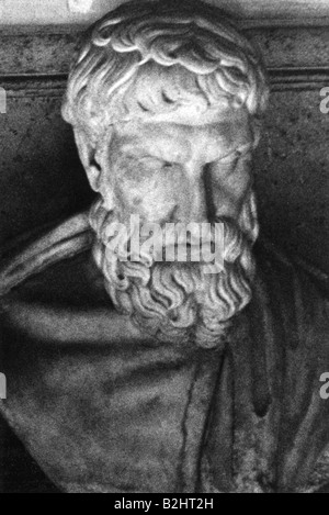 Epicurus of Samos, 342 - 271 BC, Greek philosopher, portrait, bust, Capitol Museum, Rome, Italy, Additional-Rights - Stock Photo