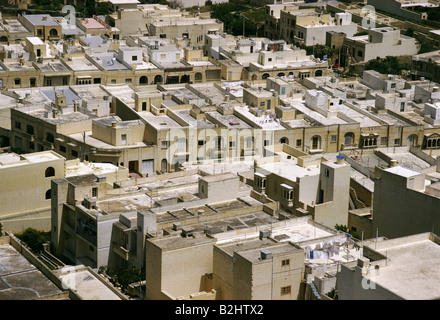 geography / travel, Malta, island Gozo, Victoria, view from citadel over city, flat roofs, roof, Moorish architecture, - Stock Photo
