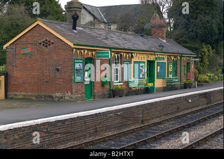 Medstead and Four Marks railway station part of the Watercress Line which is a line dedicated to steam trains - Stock Photo
