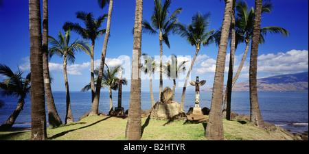 geography / travel, USA, Hawaii, Maui, beaches, historical, historic, ancient burial site on beach of Kihei, panoramic - Stock Photo