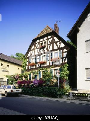 geography / travel, Germany, Rhineland - Palatinate, Bad Durkheim, winegrower house from 18th century, German wine - Stock Photo