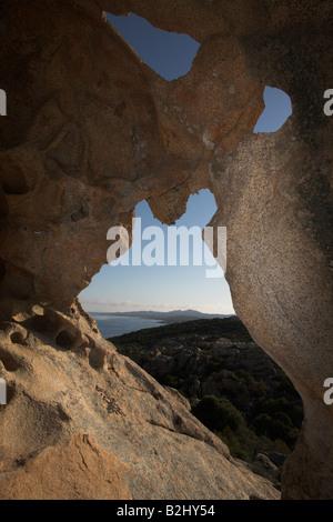 Stone Arch caost Sardinia Italy Mediterranean - Stock Photo