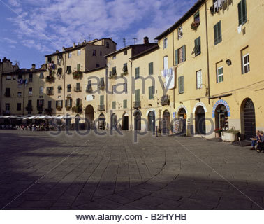 geography / travel, Italy, Tuscany, Lucca, squares, Piazza Del Mercato, - Stock Photo