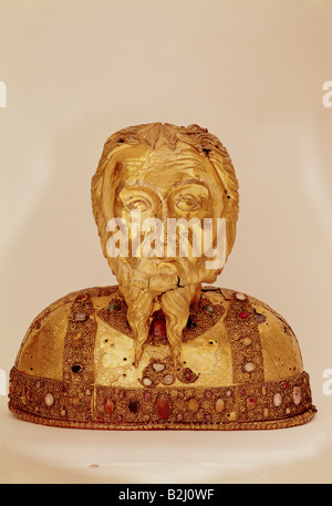 Anthony 'the Great', circa 251 - circa 353, Egyptian saint, beard relic, embossed copper, gilded, with jewels, Cologne, - Stock Photo