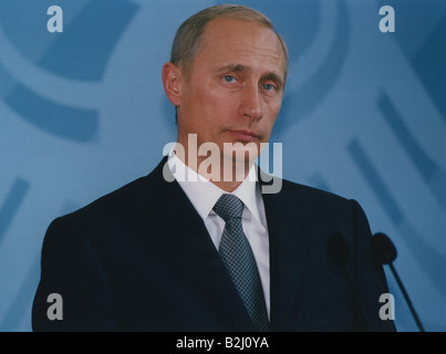 Putin, Vladimir, * 7.10.1952, Russian politician, president of Russia since 2000, portrait, press conference, Federal - Stock Photo