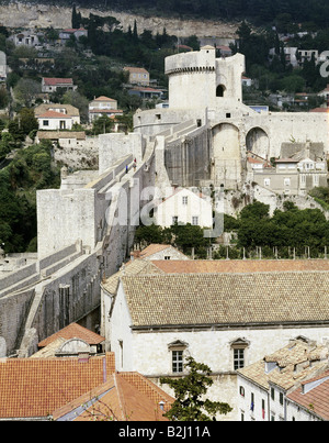 geography / travel, Croatia, Dubrovnic, Minceta, overviews, town, roofs, roof, houses - Stock Photo