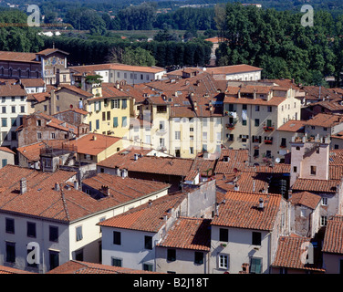 geography / travel, Italy, Tuscany, Lucca, city views, cityscape view from above to the Piazza Anfiteatro, roof, - Stock Photo