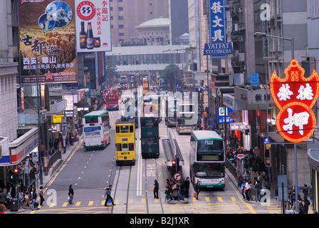 road traffic Des Voeux Road Central Hongkong Downtown Island Hongkong Hong Kong China city - Stock Photo