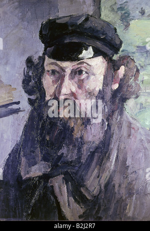 fine arts, Cezanne, Paul (1839 - 1906), painting 'self portrait with a Casquette', 1873 - 1875, oil on canvas, The - Stock Photo