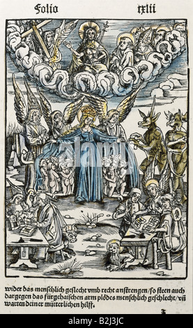 religion, Christianity, apocalypse / Last Judgement, graphic, woodcut, coloured, from 'Der Teufelsprozess vor dem - Stock Photo
