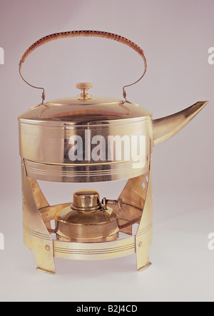 household, kitchen and kitchenware, tea kettle, brass, pot nickel-plated, total height 31.5 cm, design probably - Stock Photo