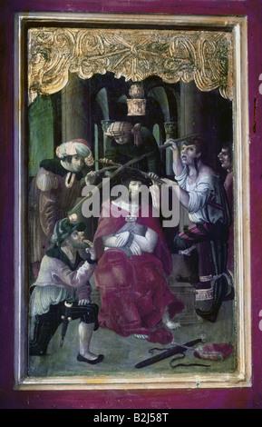 architecture, churches and convents, Germany, Bavaria, Saint Servatius Streichen church, interior view, high altar, - Stock Photo