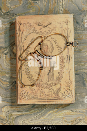 medicine, ophthalmology, glasses, Pince-nez with steel spring, Germany, mid 19th century, Die Neue Sammlung, Munich, - Stock Photo