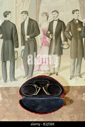 medicine, ophthalmology, glasses, pince-nez with case, late 19th century, on steel engraving, Paris, circa 1850, - Stock Photo