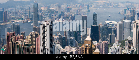 Panoramic view of Hong Kong and Kowloon from Victoria Peak Tower. Hong Kong, China, SAR. - Stock Photo