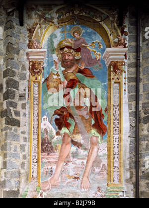 Saint Christopher, martyr, 'St. Christopher carrying the Christ Child', full length, mural painting, height circa - Stock Photo