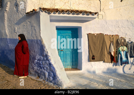 street scenes in the blue walled town of Chefchaouen, Morocco