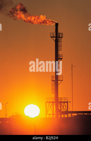 An oil refinery with gas flame in sunset. Australia. - Stock Photo