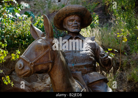 A bronze statue of SANCHO PANZA Don Quixote s side kick in historic GUANAJUATO MEXICO - Stock Photo