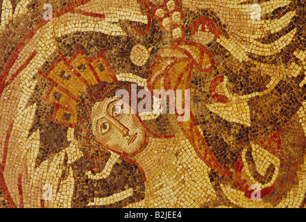 fine arts, ancient world, Jordan, mosaic, Tyche with mural crown and cornucopia among plants, Madaba, 2nd / 3rd - Stock Photo
