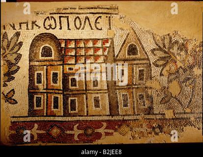 fine arts, Middle Ages, Jordan, mosaic, 'Nicopolis', Ma`in, Acropolis Church, 719 / 720, 113 cm x 182 cm, Nebo-Kh - Stock Photo
