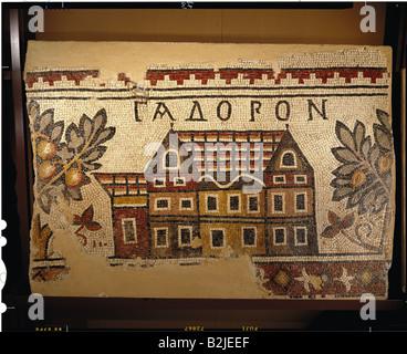 fine arts, Middle Ages, Jordan, mosaic, 'Gadoron', Ma`in, Acropolis Church, 719 / 720, 113 cm x 160 cm, Nebo-Kh - Stock Photo