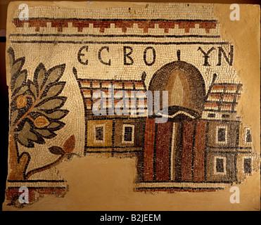 fine arts, Middle Ages, Jordan, mosaic, 'Esboun', Ma`in, Acropolis Church, 719 / 720, 113 cm x 133 cm, Nebo-Kh al - Stock Photo