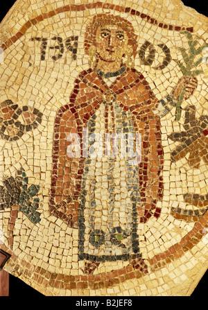 fine arts, Middle Ages, Jordan, mosaic, the abbess 'Soreg', image of the benefactor, 70 cm x 70 cm, Jerash, Church - Stock Photo