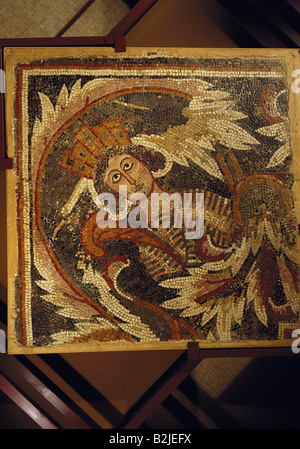 fine arts, Middle Ages, Jordan, mosaic, 'The Spring', after a late ancient antetype (Tyche with mural crown), 110 - Stock Photo