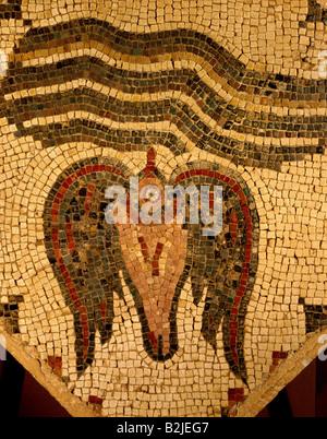 fine arts, Middle Ages, Jordan, mosaic, dove and water, 70 cm x 70 cm, Madaba, Hippolytus Hall, mid 6th century, - Stock Photo