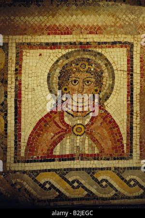 fine arts, Middle Ages, Jordan, mosaic, portrait of a woman with diadem, Chapel of the Priest John, Khirbet Al-Mukhayyat, - Stock Photo