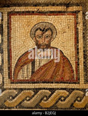 fine arts, Middle Ages, Jordan, mosaic, portrait of a clergyman, Chapel of the Priest John, Khirbet Al-Mukhayyat, - Stock Photo