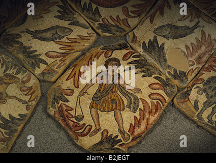 fine arts, Middle Ages, Jordan, mosaic, shepherd with slingshot, Chapel of the Priest John, Khirbet Al-Mukhayyat, - Stock Photo