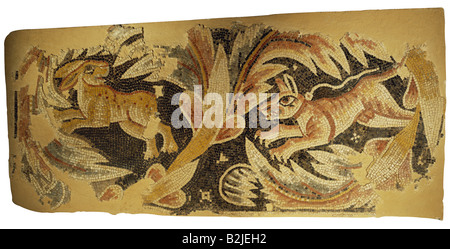 fine arts, Middle Ages, Jordan, mosaic, hare being chased by dog, church at Massuh near Madaba, 2nd half of the - Stock Photo
