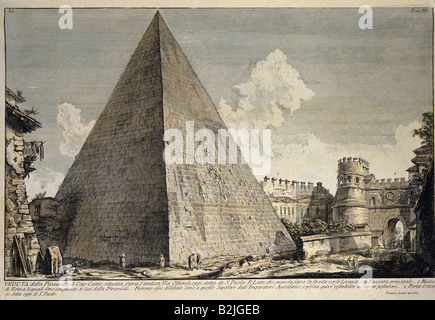 geography / travel, Italy, Rome, monuments, Pyramid of Cestius, copper engraving, coloured, by Giovanni Battista - Stock Photo
