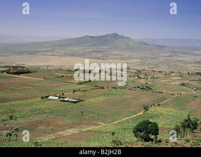 View over valley plain Naivasha Mount Longonot cone shape Extinct volcano GREAT RIFT VALLEY KENYA - Stock Photo