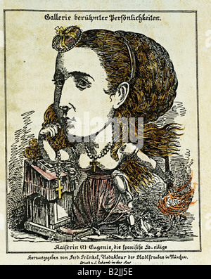 Eugenie, 5.5.1826 - 11.7.1920, Empress Consort of France, 1853 - 1871, caricature, as Spanish Saint and incendiarist, by Ferdinand Fraenkel, Munich, Germany, 1870, private collection,