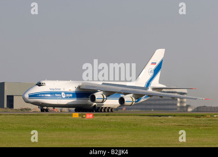 Volga Dnepr Airlines Antonov An 124 100 Ruslan taxing after landing at London Stansted - Stock Photo