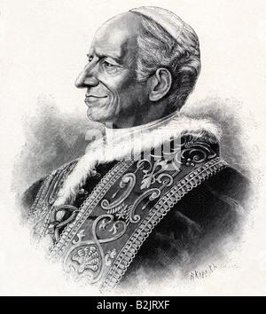 Leo XIII, (Vincenzo Gioacchino Pecci), 2.3.1810 - 20.6.1903, Pope 20.2.1878 - 20.6.1903, portrait, wood engraving, - Stock Photo