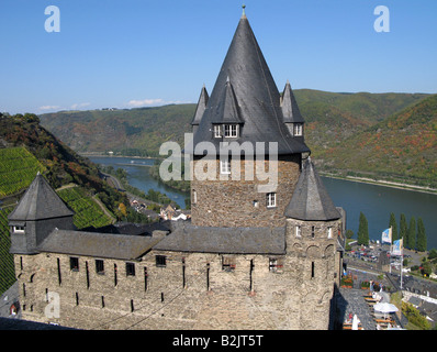 architecture, castles, Germany, Rhineland-Palatinate, Stahleck Castle, near Bacharach, exterior view, Additional - Stock Photo