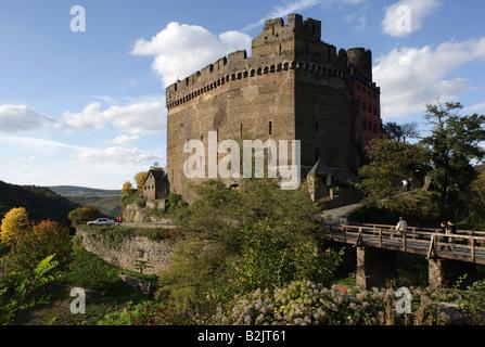 architecture, castles, Germany, Rhineland-Palatinate, Schoenburg Castle near Oberwesel on the Rhine, built: 12th - Stock Photo