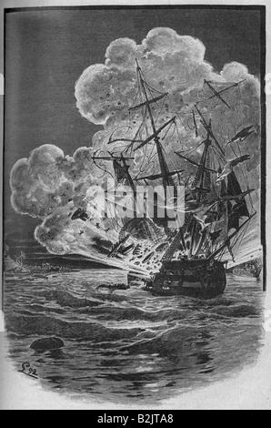 events, First Schleswig War 1848 - 1851, Battle of Eckernforde, 9.4.1849, Danish ship of the line 'Christian VIII' - Stock Photo