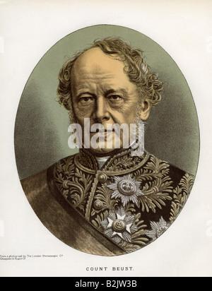 Beust, Friedrich Ferdinand von, 13.1.1809 - 23.10.1886, Saxon, Austrian statesman, portrait, lithograph, coloured, - Stock Photo