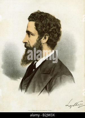Bulwer-Lytton, Edward Robert, 8.11.1831 - 24.11.1891, British diplomat, author, lithograph, coloured, based on a - Stock Photo