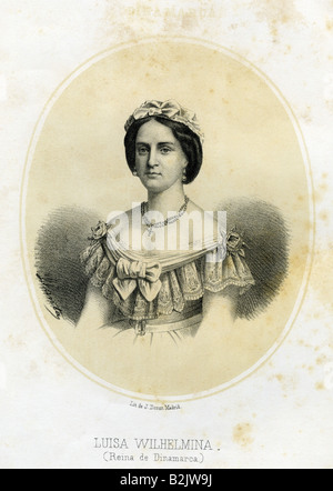 Louise, 7.9.1817 - 29.9.1898, Queen Consort of Denmark 15.11.1863 - 29.9.1898, half length, lithograph, by J. Donon, Madrid, Spain, 19th century,