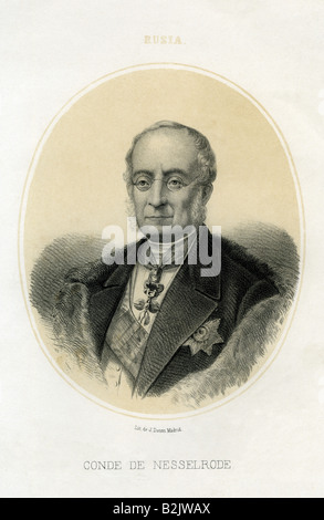 Nesselrode, Count Karl Robert, 14.12.1780 - 23.3.1862, Russian politician, portrait, lithograph, by J. Donon, Madrid, - Stock Photo
