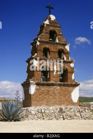 geography / travel, USA, California, Paso Robles, churches, bell tower of San Miguel Arcangel Mission, exterior - Stock Photo