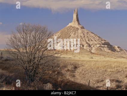 geography / travel, USA, Nebraska, Bayard, landscapes, Chimney Rock, rock at Oregon Trail, Additional-Rights-Clearance - Stock Photo
